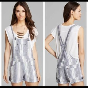Free People Romper Blue Gray Linen Overalls Size 4